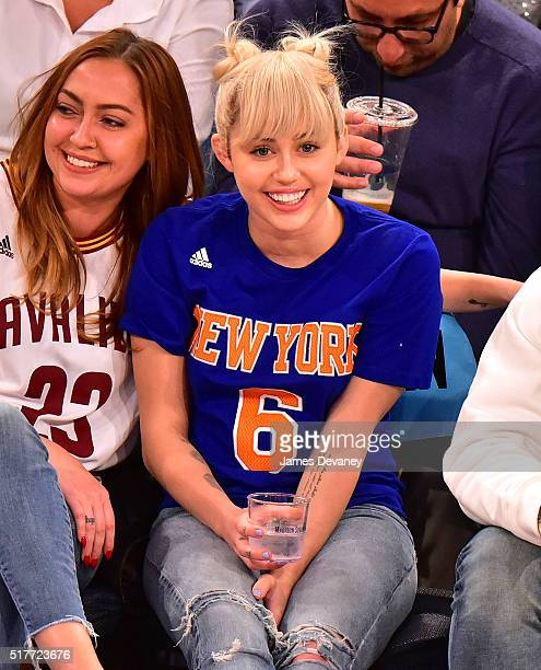 Miley Cyrus attends the Cleveland Cavaliers vs New York Knicks game at Madison Square Garden on March 26 2016 in New York City