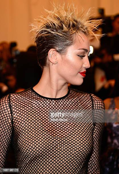 Miley Cyrus attends the Costume Institute Gala for the 'PUNK Chaos to Couture' exhibition at the Metropolitan Museum of Art on May 6 2013 in New York...