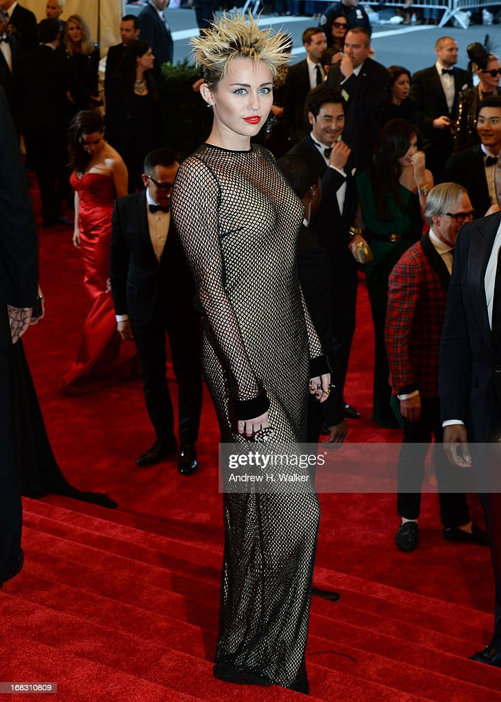 Miley Cyrus attends the Costume Institute Gala for the 'PUNK: Chaos to Couture' exhibition at the Metropolitan Museum of Art on May 6, 2013 in New York City.