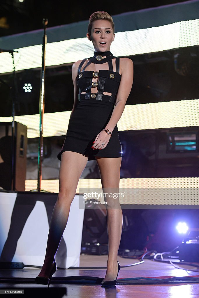 Miley Cyrus attends the iHeartRadio Ultimate Pool Party Presented By VISIT FLORIDA At Fontainebleau's BleauLive at Fontainebleau Miami Beach on June 29, 2013 in Miami Beach, Florida.