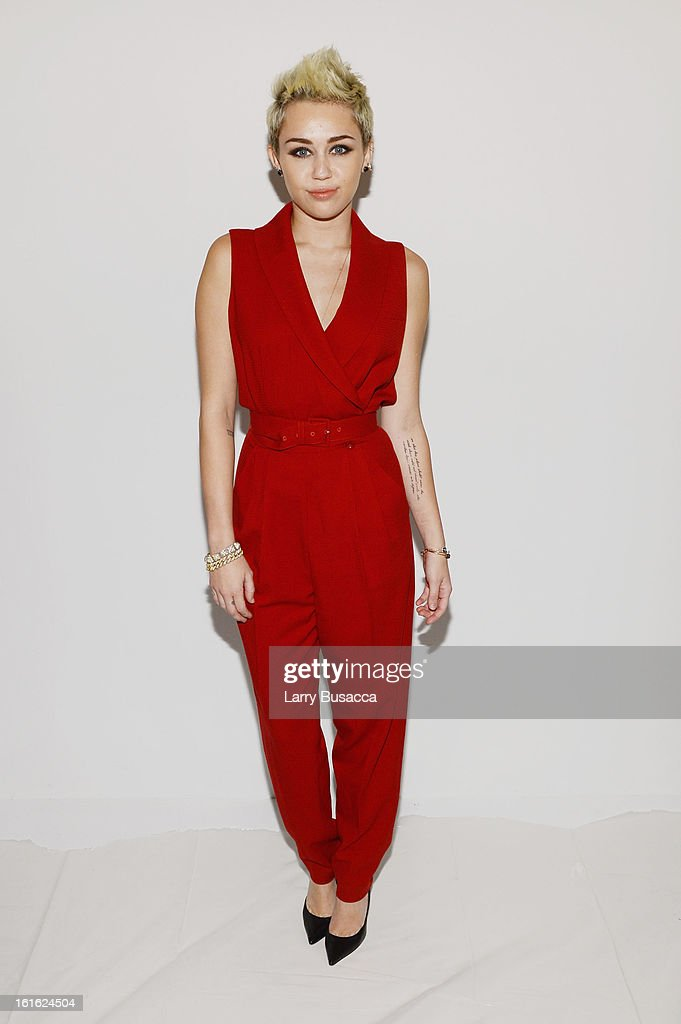 Miley Cyrus attends the Rachel Zoe Fall 2013 fashion show during MercedesBenz Fashion Week at The Studio at Lincoln Center on February 13 2013 in New...