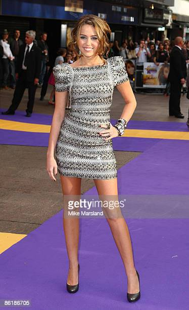 Miley Cyrus attends the UK Premiere of 'Hannah Montana The Movie' at the Odeon Leicester Square on April 23 2009 in London England