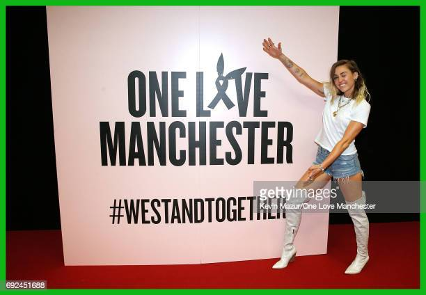 Miley Cyrus backstage during the One Love Manchester Benefit Concert at Old Trafford Cricket Ground on June 4 2017 in Manchester England