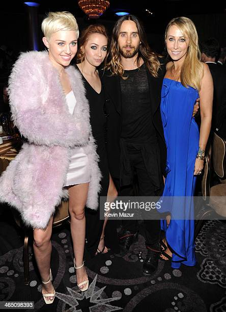Miley Cyrus Brandi Cyrus Jared Leto and Tish Cyrus during the 56th annual GRAMMY Awards PreGRAMMY Gala and Salute to Industry Icons honoring Lucian...
