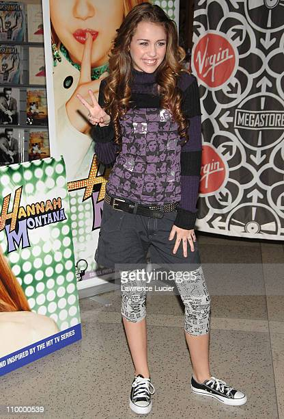 Miley Cyrus during Miley Cyrus Signs Her CD The 'Hannah Montana' Soundtrack at Virgin Megastore in New York City October 24 2006 at Virgin Megastore...