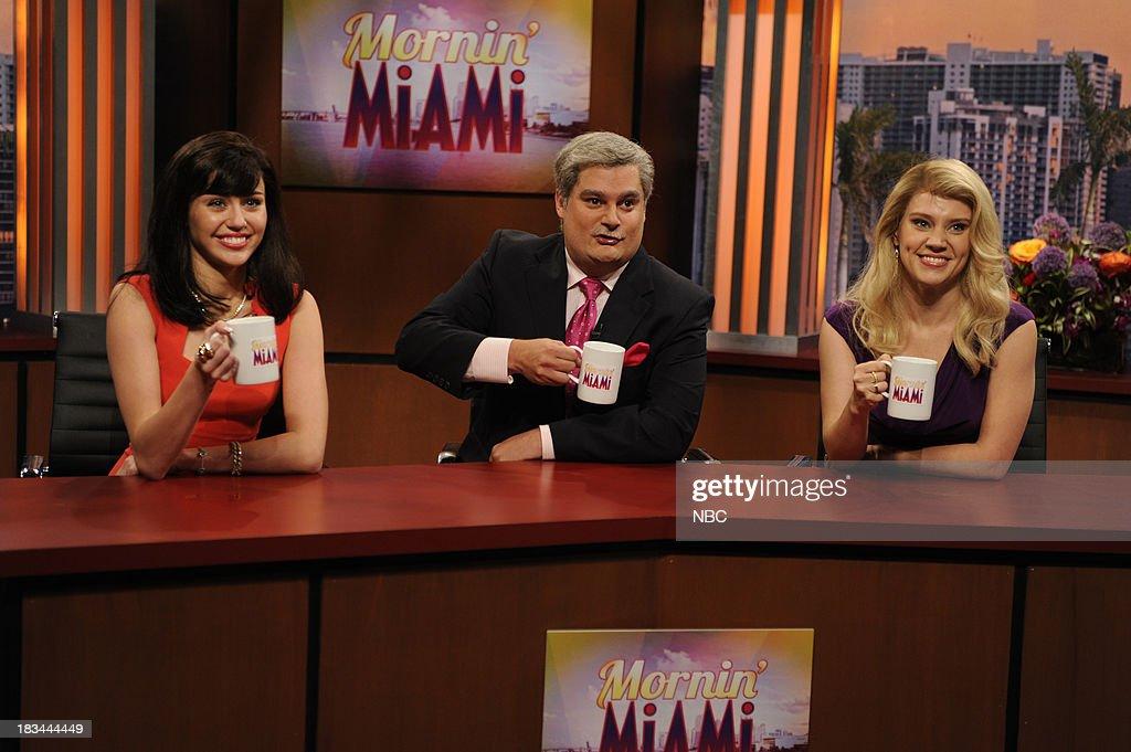 LIVE -- 'Miley Cyrus' Episode 1643 -- Pictured: (l-r) Miley Cyrus as Yolanda, Bobby Moynihan as BF, Kate McKinnon as Jill during the 'Mornin' Miami' sketch --