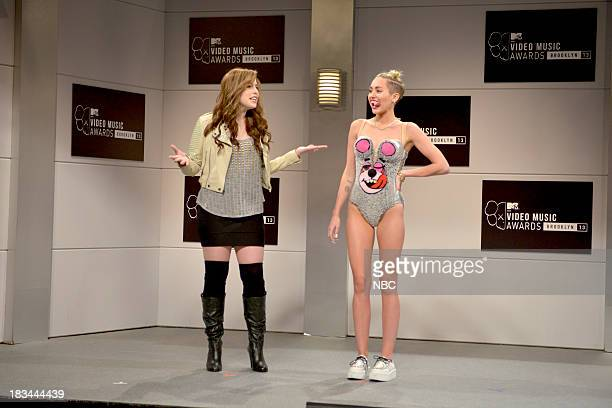 LIVE 'Miley Cyrus' Episode 1643 Pictured Vanessa Bayer as future Miley Cyrus Miley Cyrus as herself during the 'New York City 2045' opening sketch