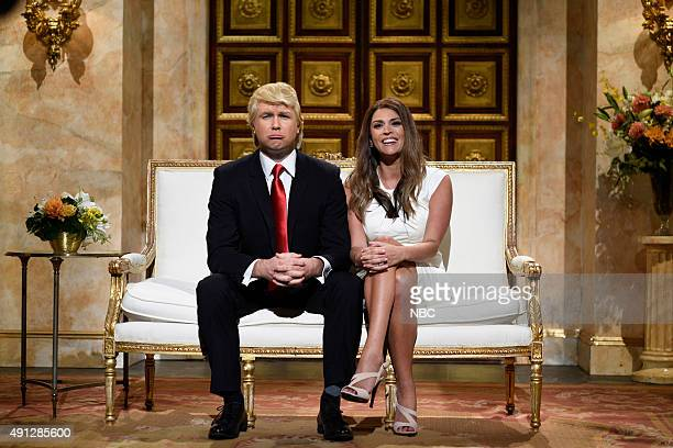 LIVE 'Miley Cyrus' Episode 1684 Pictured Taran Killam as Donald Trump and Cecily Strong as Melania Trump during the 'Trump Cold Open' sketch on...