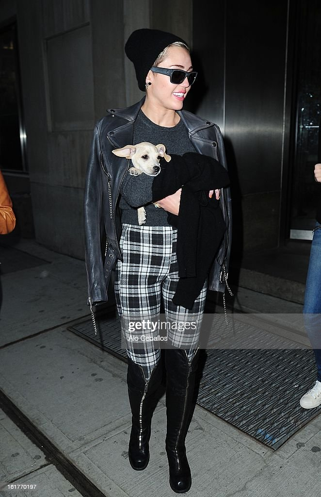 <a gi-track='captionPersonalityLinkClicked' href=/galleries/search?phrase=Miley+Cyrus&family=editorial&specificpeople=3973523 ng-click='$event.stopPropagation()'>Miley Cyrus</a> is seen in Chelsea on February 15, 2013 in New York City.