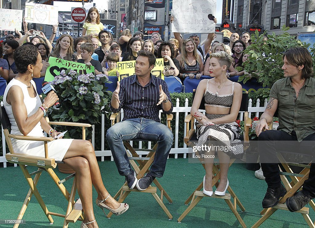 AMERICA - Miley Cyrus, Keith Urban and Ryan Seacrest are guests on 'Good Morning America,' 7/15/13, airing on the ABC Television Network. (Photo by Lou Rocco/ABC via Getty Images) ROBIN ROBERTS, RYAN SEACREST, MILEY CYRUS, KEITH URBAN