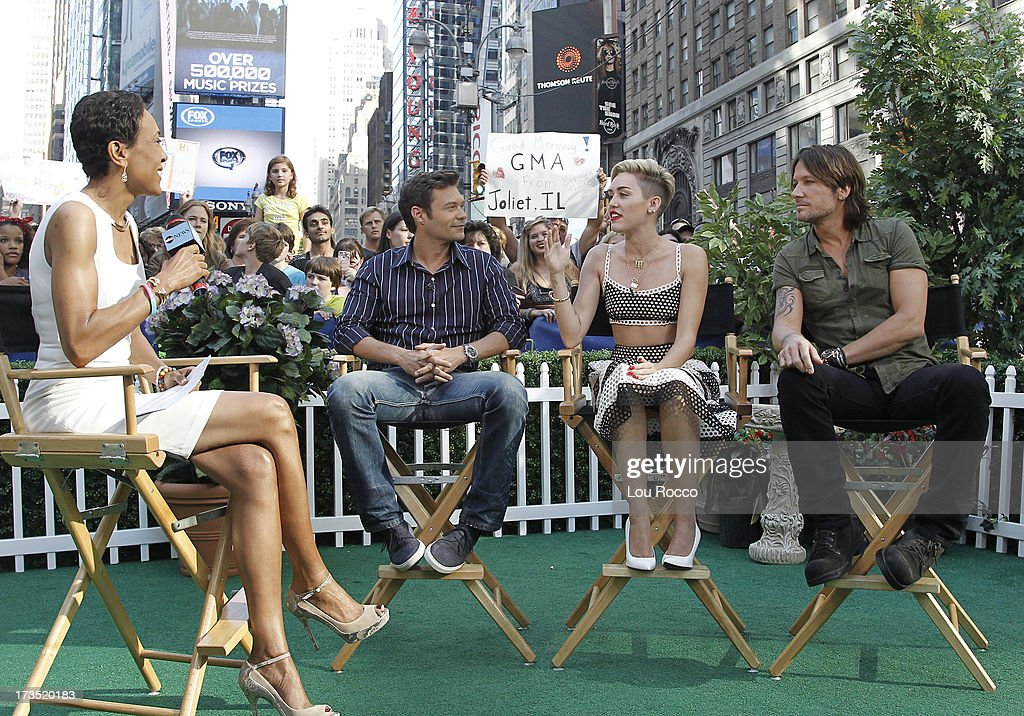 AMERICA - Miley Cyrus, Keith Urban and Ryan Seacrest are guests on 'Good Morning America,' 7/15/13, airing on the ABC Television Network. (Photo by Lou Rocco/ABC via Getty Images) ROBIN