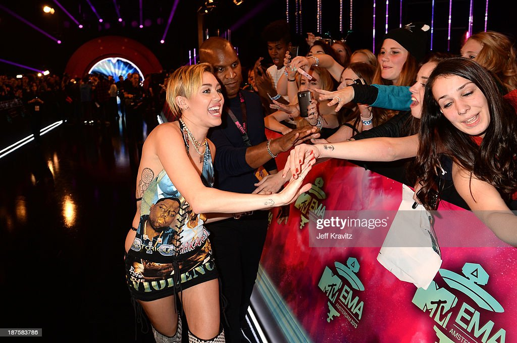 <a gi-track='captionPersonalityLinkClicked' href=/galleries/search?phrase=Miley+Cyrus&family=editorial&specificpeople=3973523 ng-click='$event.stopPropagation()'>Miley Cyrus</a> meets fans as she attends the MTV EMA's 2013 at the Ziggo Dome on November 10, 2013 in Amsterdam, Netherlands.
