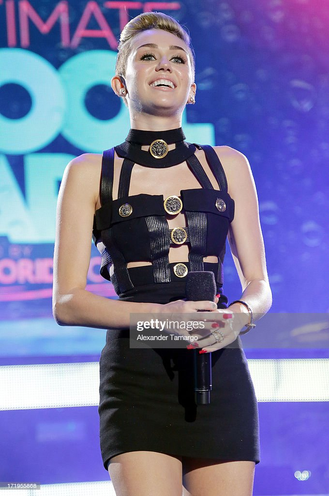 Miley Cyrus performs at the iHeartRadio Ultimate Pool Party Presented By VISIT FLORIDA at Fontainebleau Miami Beach on June 29, 2013 in Miami Beach, Florida.