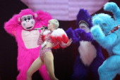 TORONTO ON MARCH 31 Miley Cyrus performs Bangerz tour at the Air Canada Centre in Toronto March 31 2014