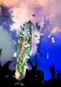 Miley Cyrus performs during her Bangerz Tour at The Palace of Auburn Hills on April 12 2014 in Auburn Hills Michigan