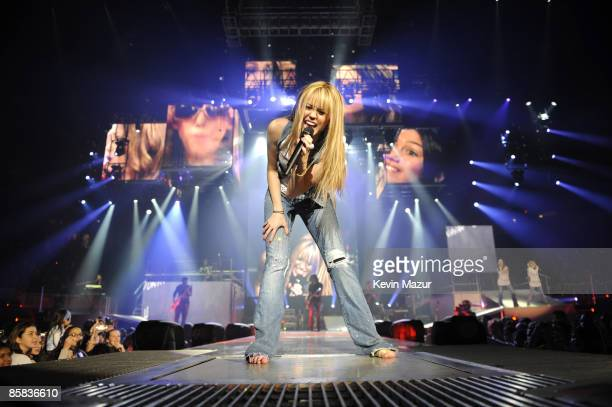 UNIONDALE NY DECEMBER 27 *EXCLUSIVE* Miley Cyrus performs during her 'Best of Both Worlds' tour at Nassau Coliseum on December 27 2007 in Uniondale...