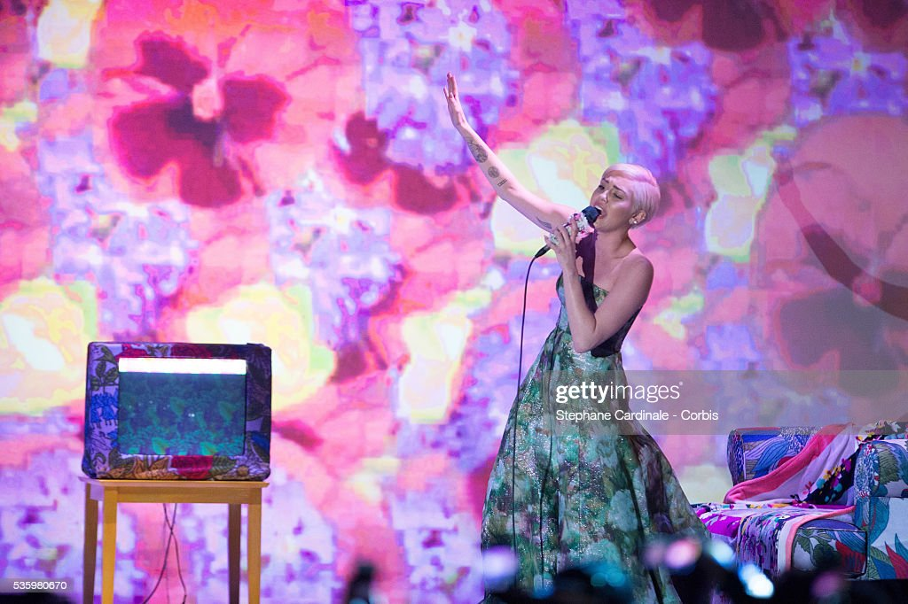 Miley Cyrus performs during the ceremony of the World Music Awards 2014 at Sporting Monte-Carlo on May 27, 2014 in Monte-Carlo, Monaco.