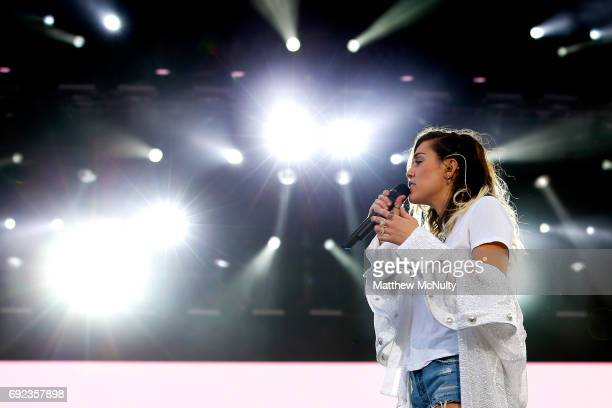 Miley Cyrus performs during the One Love Manchester concert at Old Trafford Cricket Ground Cricket Club on June 4 2017 in Manchester England
