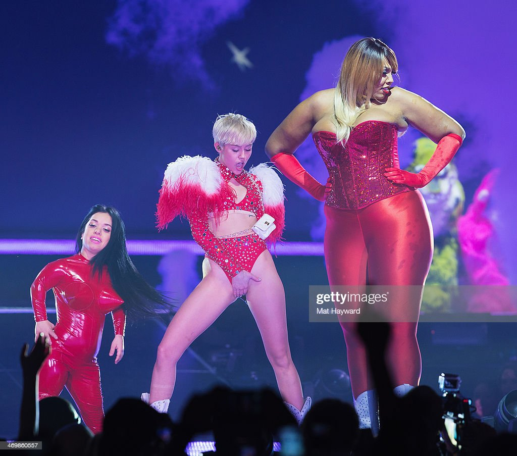 Miley Cyrus performs on stage during her 'Bangerz Tour' at the Tacoma Dome on February 16, 2014 in Tacoma, Washington.