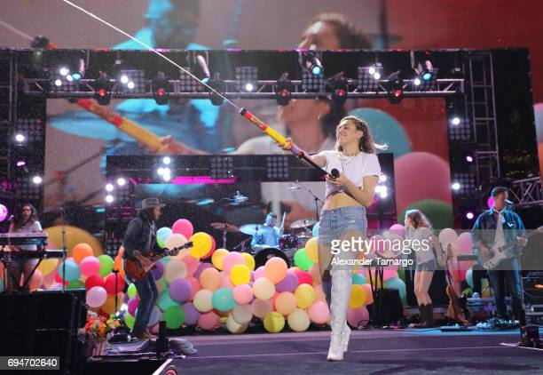 Miley Cyrus performs on stage during the iHeartSummer '17 Weekend by ATT at Fontainebleau Miami Beach on June 10 2017 in Miami Beach Florida