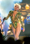 Miley Cyrus performs onstage during her 'Bangerz' tour at Honda Center on February 20 2014 in Anaheim California