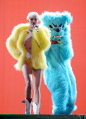 Miley Cyrus performs onstage during her 'Bangerz' tour at Rogers Arena on February 14 2014 in Vancouver Canada