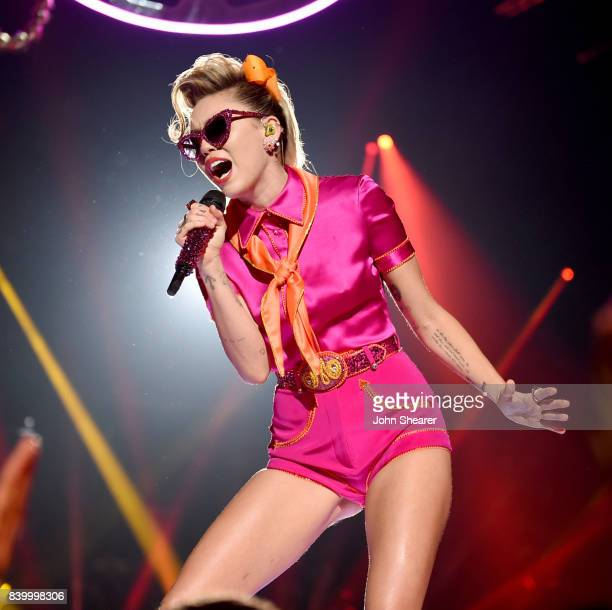 Miley Cyrus performs onstage during the 2017 MTV Video Music Awards at The Forum on August 27 2017 in Inglewood California