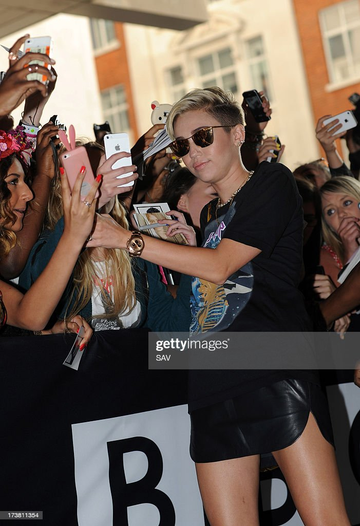 Miley Cyrus pictured at the BBC Radio 1 studios on July 18, 2013 in London, England.