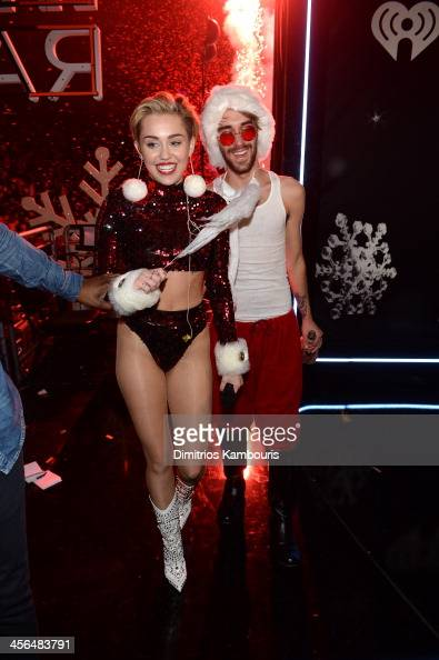 Miley Cyrus poses backstage at Z100's Jingle Ball 2013 presented by Aeropostale at Madison Square Garden on December 13 2013 in New York City