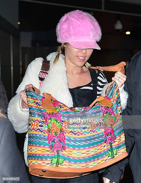 Miley Cyrus seen at JFK Airport on January 17 2016 in New York City