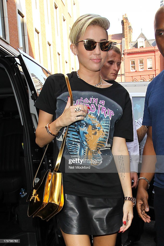 Miley Cyrus seen at KISS FM on July 18, 2013 in London, England.