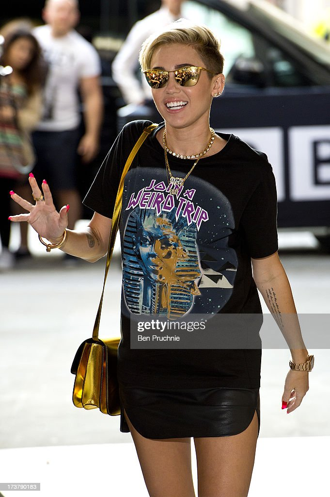 <a gi-track='captionPersonalityLinkClicked' href=/galleries/search?phrase=Miley+Cyrus&family=editorial&specificpeople=3973523 ng-click='$event.stopPropagation()'>Miley Cyrus</a> sighted at BBC Radio 1 on July 18, 2013 in London, England.