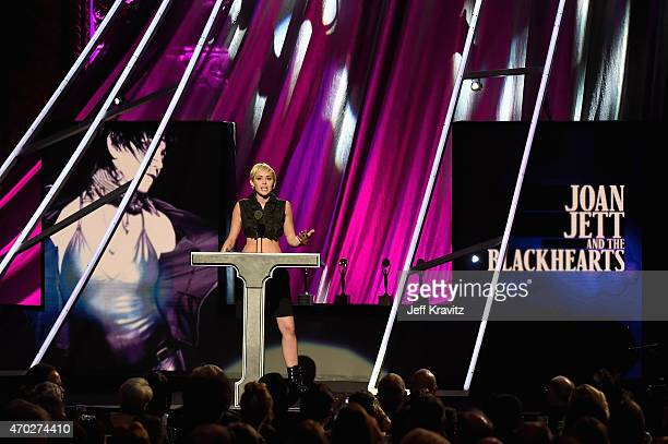 Miley Cyrus speaks onstage during the 30th Annual Rock And Roll Hall Of Fame Induction Ceremony at Public Hall on April 18 2015 in Cleveland Ohio