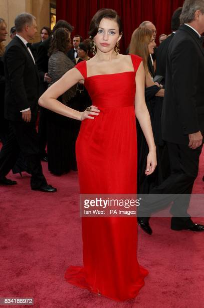Miley Cyrus wearing Valentino arrives for the 80th Academy Awards at the Kodak Theatre Los Angeles