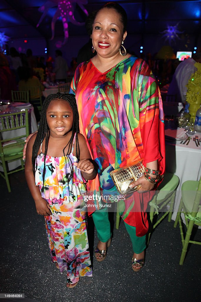 Miley Simmons and Justine Simmons attend the 13th Annual Russel Simmons Rush philanthropic ART FOR LIFE on July 28, 2012 in East Hampton, New York.