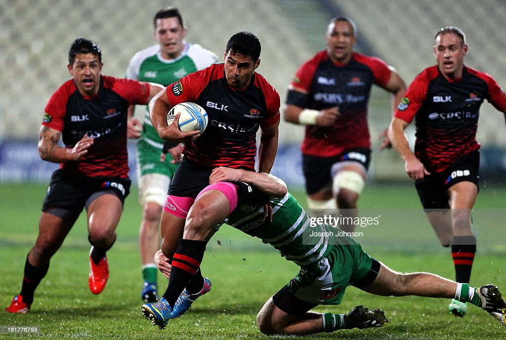 Milford Keresoma of Canterbury is tackled by Leroy Van dam of Manawatu during the round 7 ITM Cup match between Canterbury and Manawatu at AMI Stadium on September 25, 2013 in Christchurch, New Zealand.