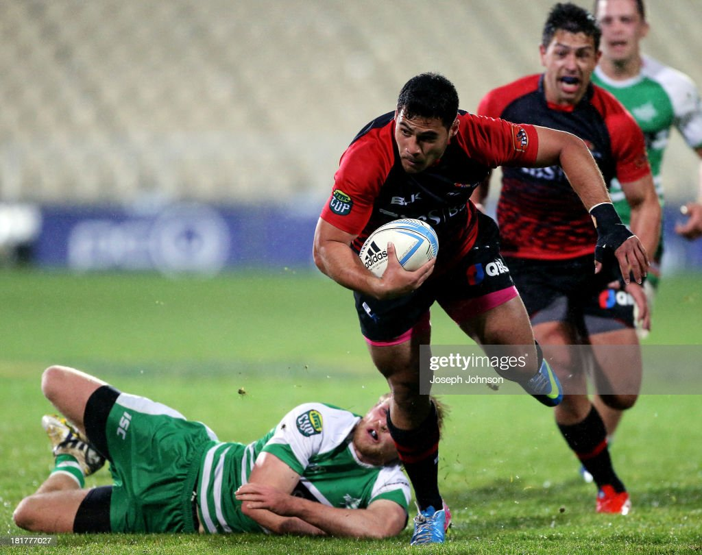 Milford Keresoma of Canterbury runs with the ball during the round 7 ITM Cup match between Canterbury and Manawatu at AMI Stadium on September 25, 2013 in Christchurch, New Zealand.