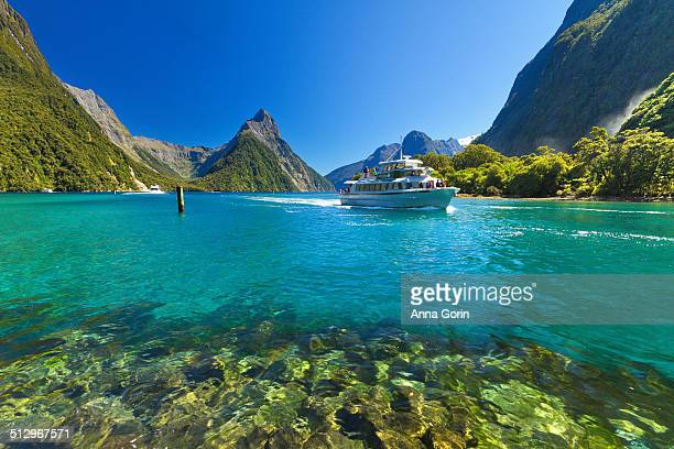 Milford Sound, Mitre Peak, and tour boat