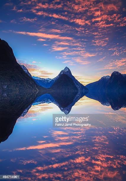 Milford Sound sunset reflection