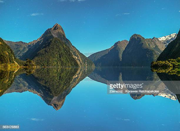 Milford sound with star and reflection