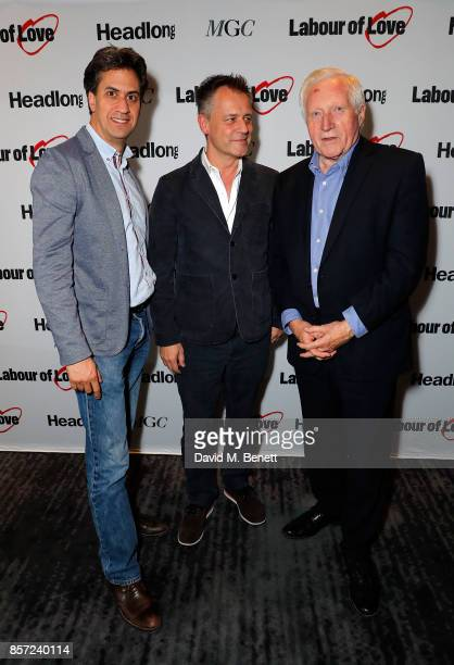 Miliband Michael Grandage and David Dimbleby attend the press night after party for 'Labour Of Love' at The National Cafe on October 3 2017 in London...