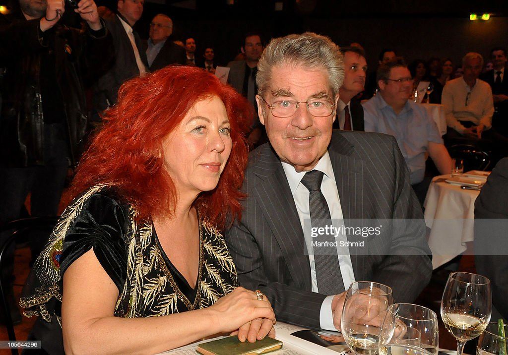 Milica Theessink and Austrian President <a gi-track='captionPersonalityLinkClicked' href=/galleries/search?phrase=Heinz+Fischer&family=editorial&specificpeople=537198 ng-click='$event.stopPropagation()'>Heinz Fischer</a> attend the CD presentation 'Wishing Well' at Studio 44 on April 4, 2013 in Vienna, Austria.