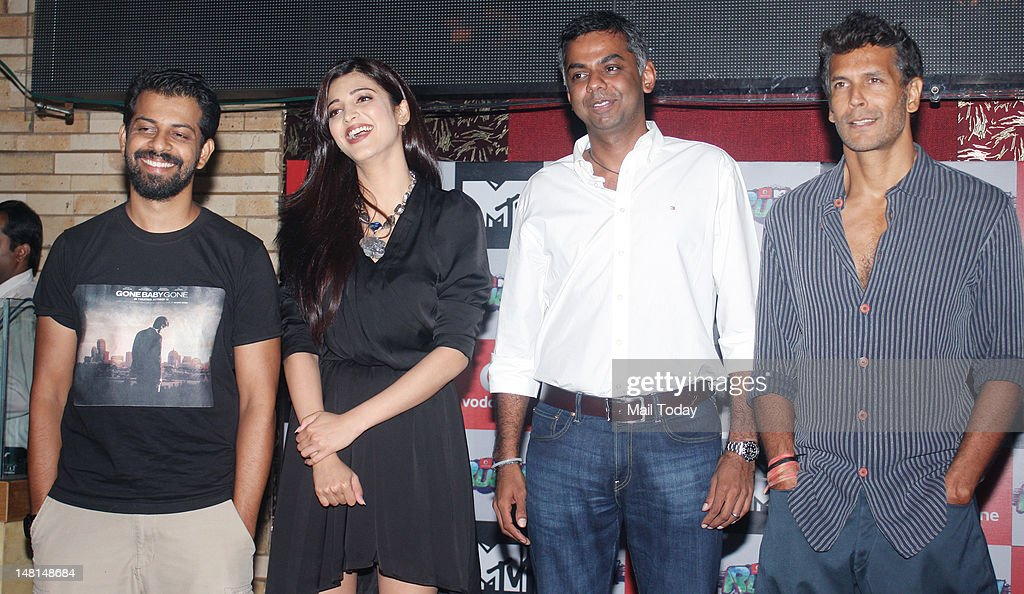 Milind Soman and Shruti Hasan during the press meet of MTV Rush at Red Ant Cafe in Mumbai on July 10, 2012.