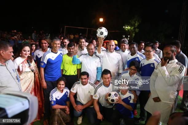 Milind Soman Babita Kumari Sushil Kumar Bhaichug Bhutiya Mary Kom and Sports Minister Vijay Goel Home Minister Rajnath Singh and MoS Home Affairs...