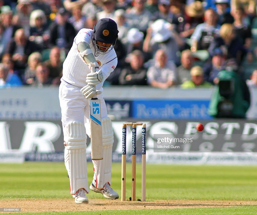 Milinda Siriwardana of Sri Lanka hits the ball and is caught out during day two of the 2nd Investec Test match between England and Sri Lanka at Emirates Durham ICG on May 28, 2016 in Chester-le-Street, United Kingdom.