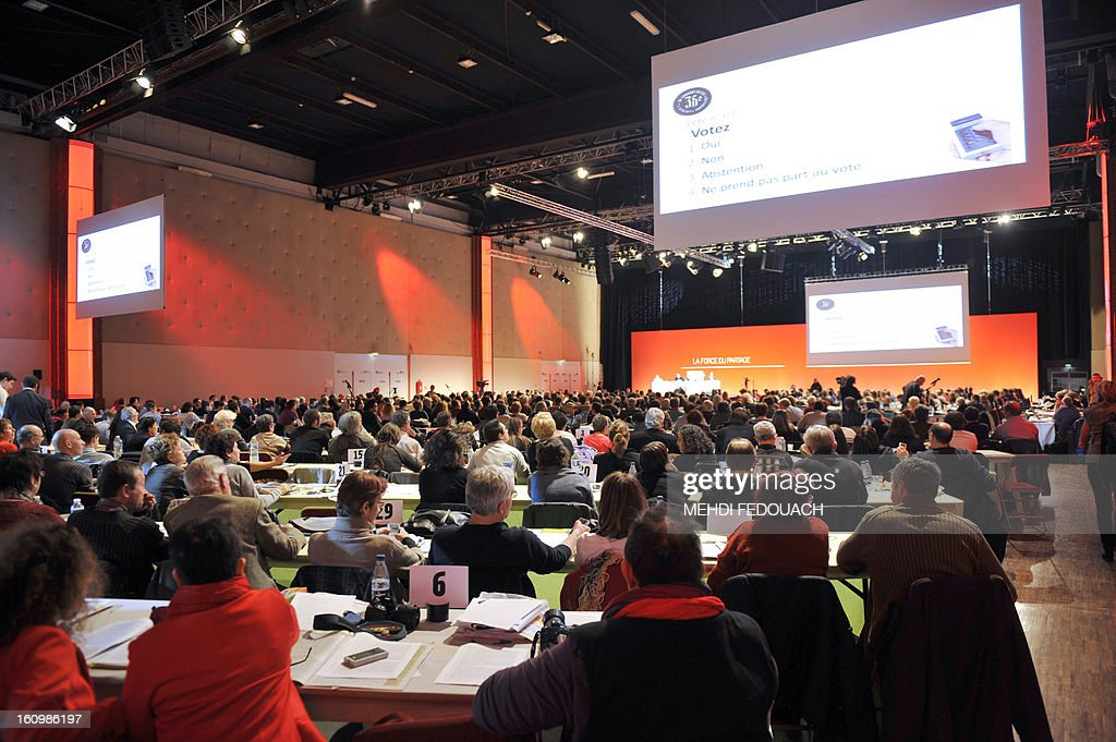 Militants take part in the 36th Congress of the French Communist Party on February 8, 2013 in Saint-Denis, near Paris.