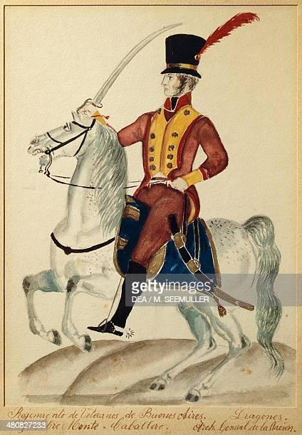 Militaria Argentina 19th century Cavalryman of the veteran regiment of Buenos Aires Dragoons Watercolor Buenos Aires Museo Histórico Nacional Del...