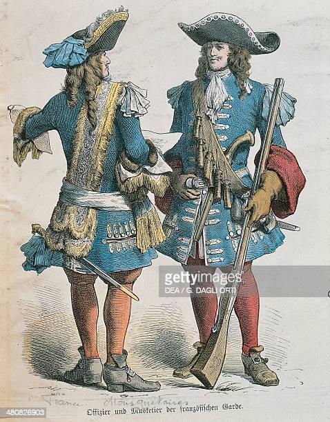 Militaria France 17th century Military uniforms of Louis XIV musketeers Paris Bibliothèque Des Arts Decoratifs