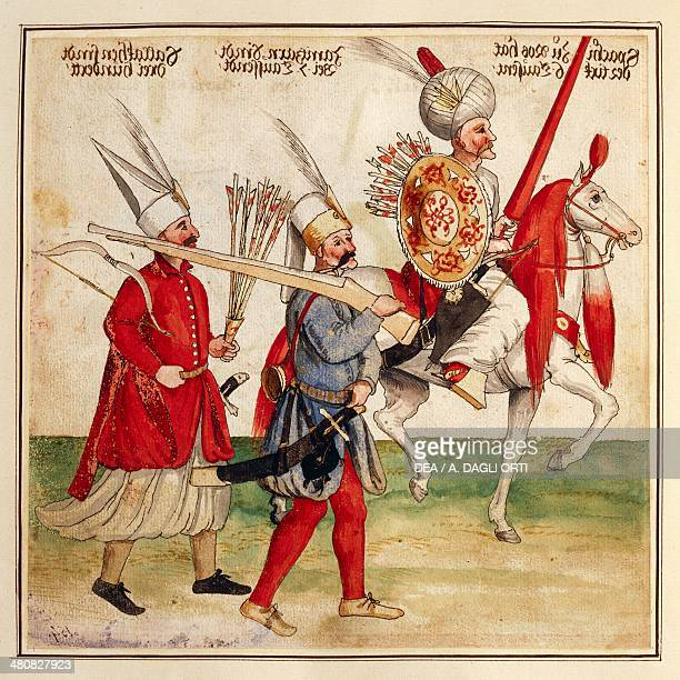 Militaria Ottoman Empire 18th century Turkish armed men on foot and on horseback Watercolored print Newport 1712 Florence Museo Stibbert
