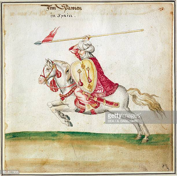 Militaria Spain 16th century Moorish soldier on horseback Watercolored print Newport 1712 Florence Museo Stibbert
